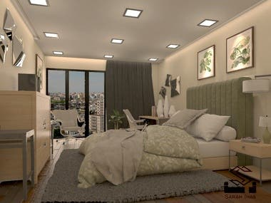 Bed Room 3D Modelling and Rendering