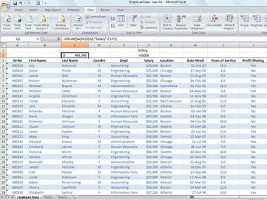 Employee data of excel