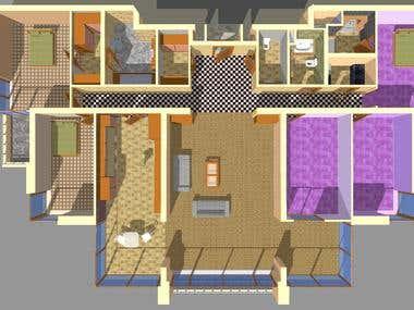 Home floor plan and interior design at Oran Ankara/Turkey
