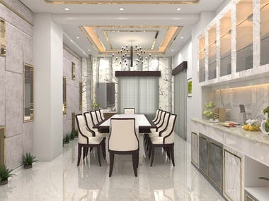 Living & Dining Room 3D View