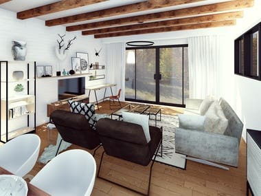 The interior design for a single-family house