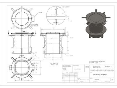 Fabrication drawings in SolidWorks: LIGHTWEIGHT BASE
