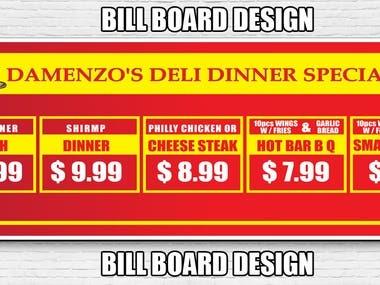 Bill board design for resturant menu