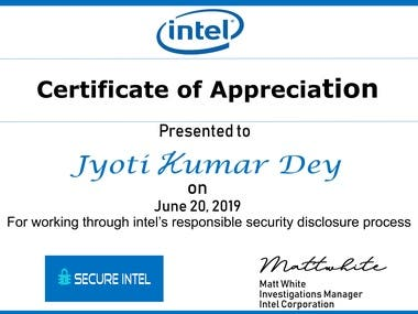 Certificate from intel