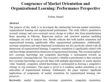 Congruence of Market Orientation and Organizational Learning