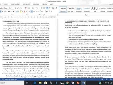 GOOGLE COMPANY CULTURE REPORT WRITING