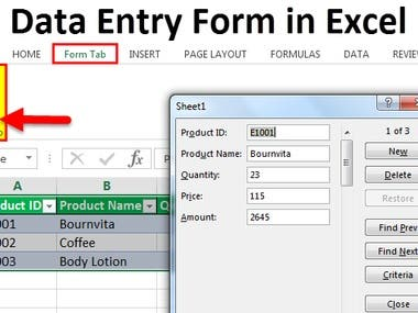 data entry in form of excel