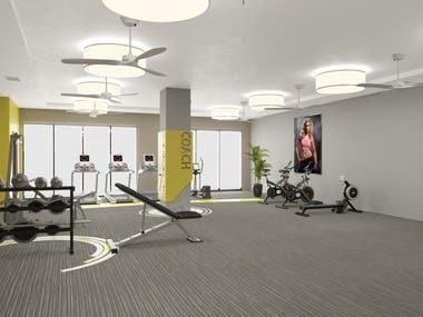 3d rendering Fitnessarea & livingroom