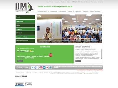 IIM Ranchi Website Developed in Wordress