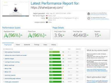 Speed Optimization of my website