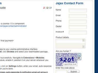Joomla ajax contact form
