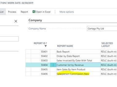 Customization of reports