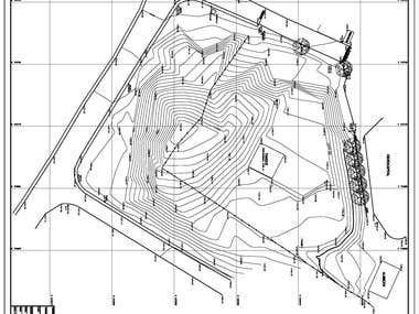 Topographic drawings with level curves.
