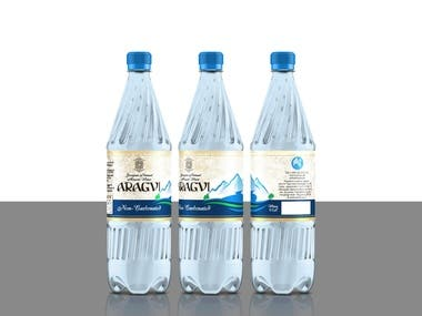 Water label design Aragvi brand of Georgian (country)