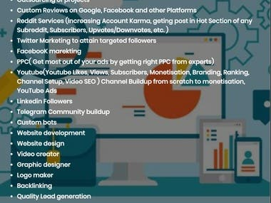 List Of My services which I provide