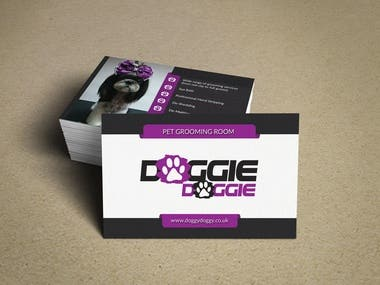 Business Card Design for Dog Grooming Company