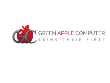 Green Apple Computer Logo Design