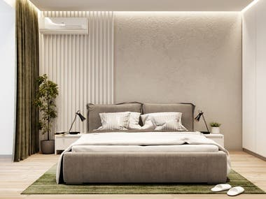 Interior design and visualization of the bedroom.