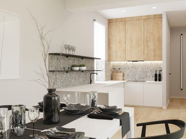 Interior design and visualization of the kitchen.