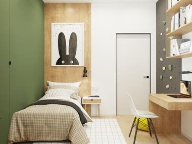 Interior design and visualization of the kids room.