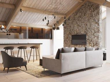 Interior design and visualization of the premium hotel room.