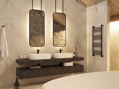Interior design and visualization of the hotel bathroom.