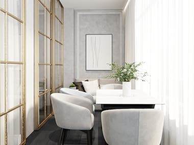 Interior design and visualization of the dining room.