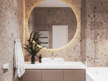 Interior design and visualization of the bathroom.