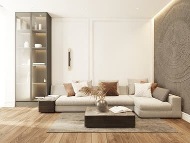 Interior design and visualization of the living room.