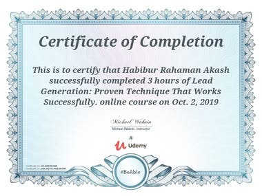 Udemy Certification on Lead Generation
