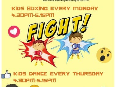 design a A4 poster for kids boxing and kids dance