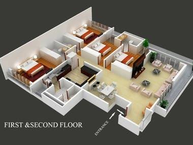 Floor Plan 3D Cutout Plan