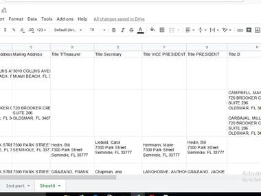 google sheet, excel and word. Data entry, info collection