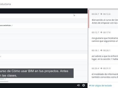 Spanish rewrite video .vtt Subs and translation to English