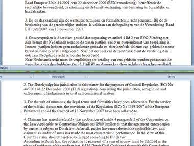 Translation (NL-ENG) of legal papers and verdict