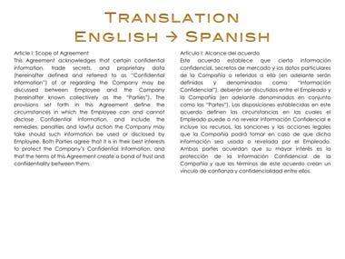 Translation from English to Spanish