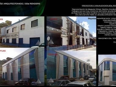 DESIGN OF FACADE COMMERCIAL BUILDING. MODERN CONSTRUCTION