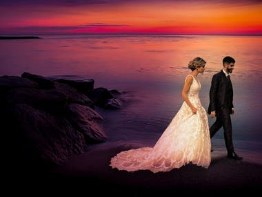 Adding Dramatic effects in Wedding Photo