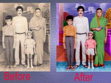 A photo retouch job Black-White converted to color picture.