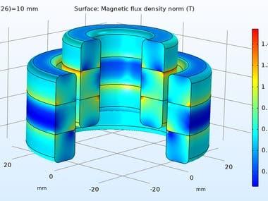 Passive magnetic bearing simulation
