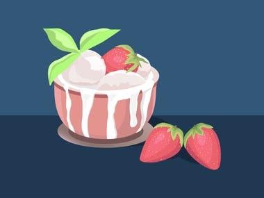 "Minimalistic illustration ""Ice cream with strawberries"""