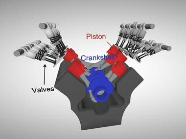 3D V8 Engine Animation