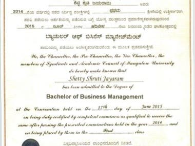 Mangalore University - Bachelor of Business Management