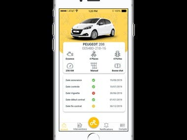 Mobile application for renting cars