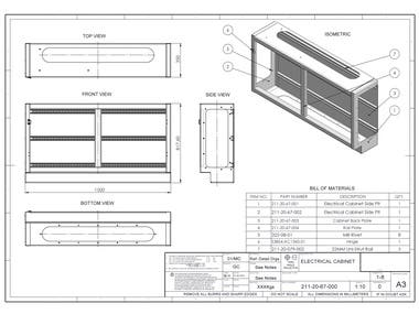 Engineering Drawing, Flat pattern of Electrical Cabinet