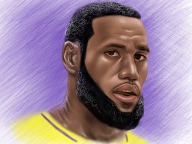 Los Angeles Lakers Lebron James Digital Painting