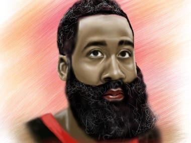 Houston Rockets James Harden Digital Painting