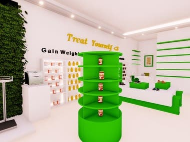 Interior design for protien and sports products store in UAE