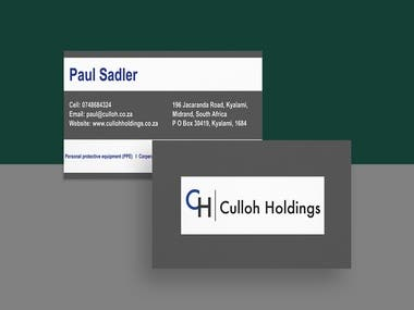 Business Card for Culloh Holdings