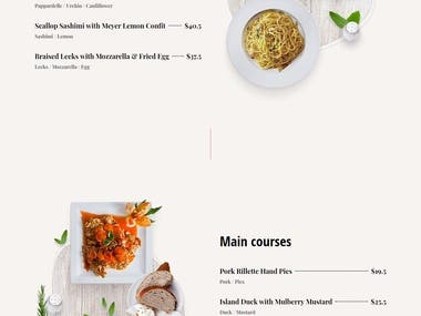 Modern Restaurant/Food website design